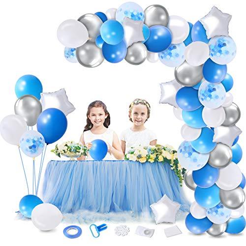 Herefun Globos de Cumpleaños de Azul, Globos Azules y Blancos, Guirnalda Globos Kit, Guirnalda Globos para Bodas, Fiesta Arco Decoracion Decoraciones para Fiestas de Globos