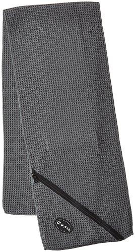Troika TWL01/GY Handdoek, zweetafleider, microvezel-workout-handdoek met wafelstructuur, absorberend en sneldrogend, met geïntegreerde ritszak, grijs