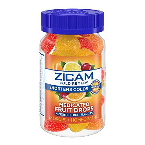 Zicam Cold Remedy Medicated Fruit Drops Homeopathic Medicine for Shortening...