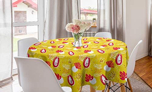 ABAKUHAUS Tropisch Rond Tafelkleed, Abstract Papaya en planten, Decoratie voor Eetkamer Keuken, 150 cm, Yellow Dark Coral