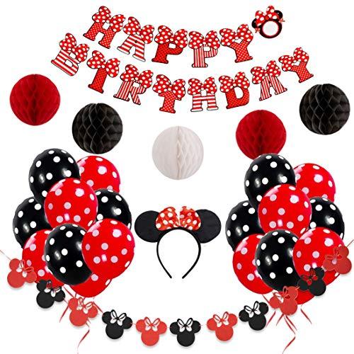 Decoraciones de cumpleaños de Minnie Mouse rojas y negras para niñas con pancarta de feliz cumpleaños, guirnaldas, diadema y globos de lunares