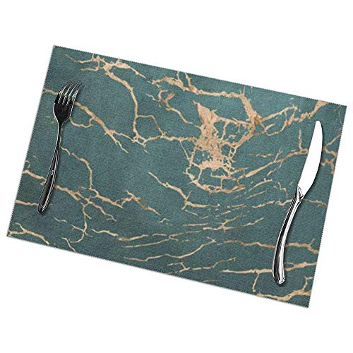 Eliuji Placemats Plaats Matten Placemats Abstract Gebarsten Marmer in Rose Goud Overlay Op Rich