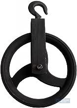 220 mm Umlenkrolle mit Haken Metall Seilrolle Heberolle Hebehaken Baurolle