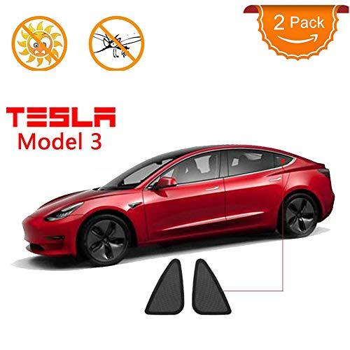 UV-Schutz Auto Dreiecksfenster Sonnenschutz Breathable Ineinander Greifen Kompatibel Für Tesla Modell 3 Mit UV-Beständigkeit, Korrosionsbeständigkeit Und Reißfestigkeit, Schwarz (2-Pack)