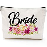Bride Makeup Bag With Rose, Miss To Mrs, Bridal Shower, Engagement Gift, Bride Gift, Bride Cosmetic Bag, Engagement Gift, Bride Cotton and linen Gift Bag