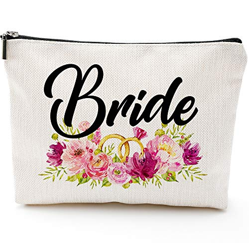 Bride Makeup Bag With Rose, Miss To Mrs, Bridal Shower, Engagement Gift, Bride Gift,
