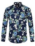 Lars Amadeus Camisa Estampada Flor Hawaiana De La Palma De Aloha Manga Larga Botón Abajo para Hombres Azul Marino M