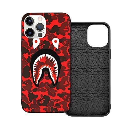 Phone Case Ba-pe Red Camo Shark Face iPhone 12/12 Pro/12 Pro Max /12 Mini(2020),Liquid TPU Silicone Gel Full Body Shockproof Drop Protection Case