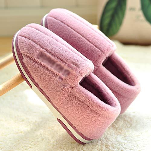 XIAOSAKU Zapatillas Mullidas El otoño y el hogar de Interior de algodón de Lana Gruesa del hogar Inferior de Invierno Zapatillas Damas Zapatillas de Estar por Casa Invierno (Color : B, Size : 36/37)