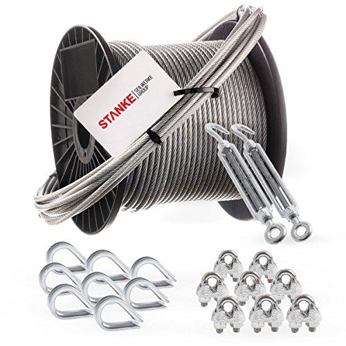 Rankhilfe Kletterhilfe Rankseil GARDINGER Rankseilsystem Stahl verzinkt Komplettset mit 6 Schrauben und 10m Stahlseil