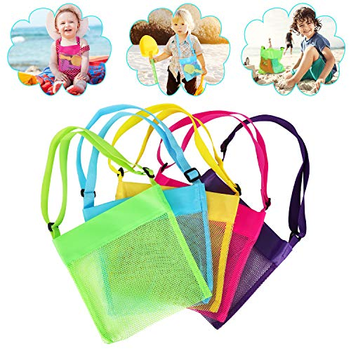 Beach Shell Bags Kids Mesh Beach Bags Mesh Seashell Bags Collection Bag for Toys Suitable for Various Parent-Child Activities(Pack of 5)