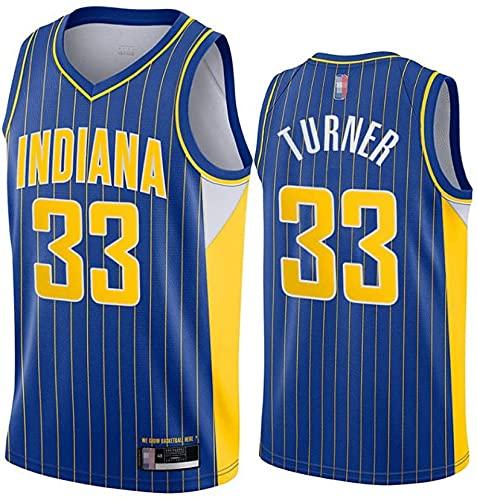 Ropa Uniformes de baloncesto para hombre, Indiana Pacers # 33 Myles Turner NBA Basketball Jerseys sin mangas Camisetas Casual deportes Chalecos Tops transpirables y de secado rápido, azul, XL (180 ~ 1