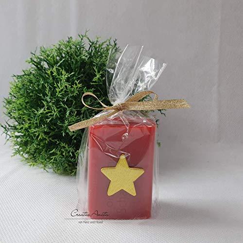 Weihnachtsgeschenk - 1 Stück Schafmilchseife weihnachtlich dekoriert mit goldenem Stern