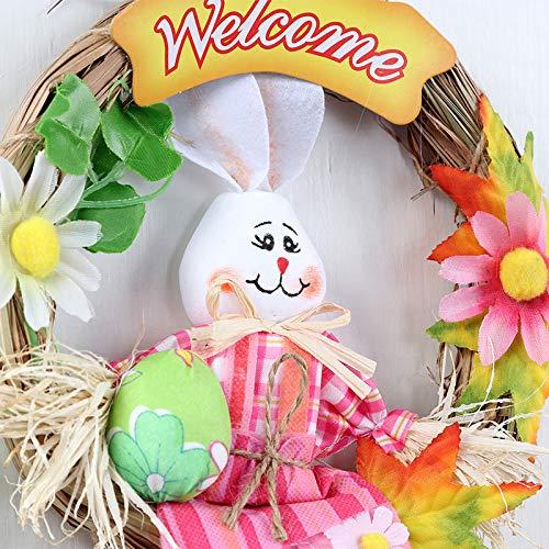 Vaugan Semana Santa Espantapájaros Decoración para Colgar Conejo Espantapájaros Corona Colgante de Pared Colgante Decoración para Pascua Fiesta Colegio Jardín Hogar - Rosa: Amazon.es: Hogar