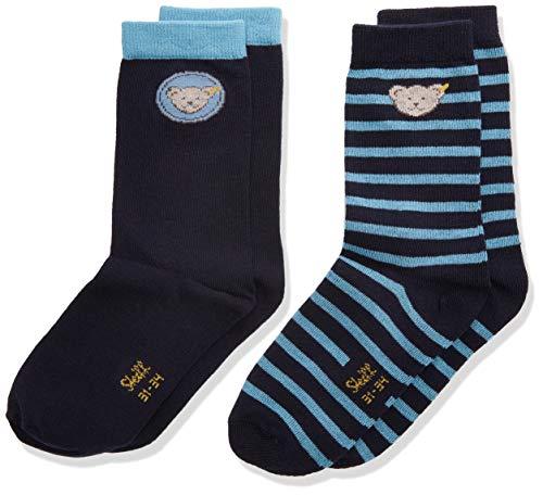 Steiff Baby-Unisex mit süßer Teddybärapplikation Socken 2er Pack GOTS, Navy, 034