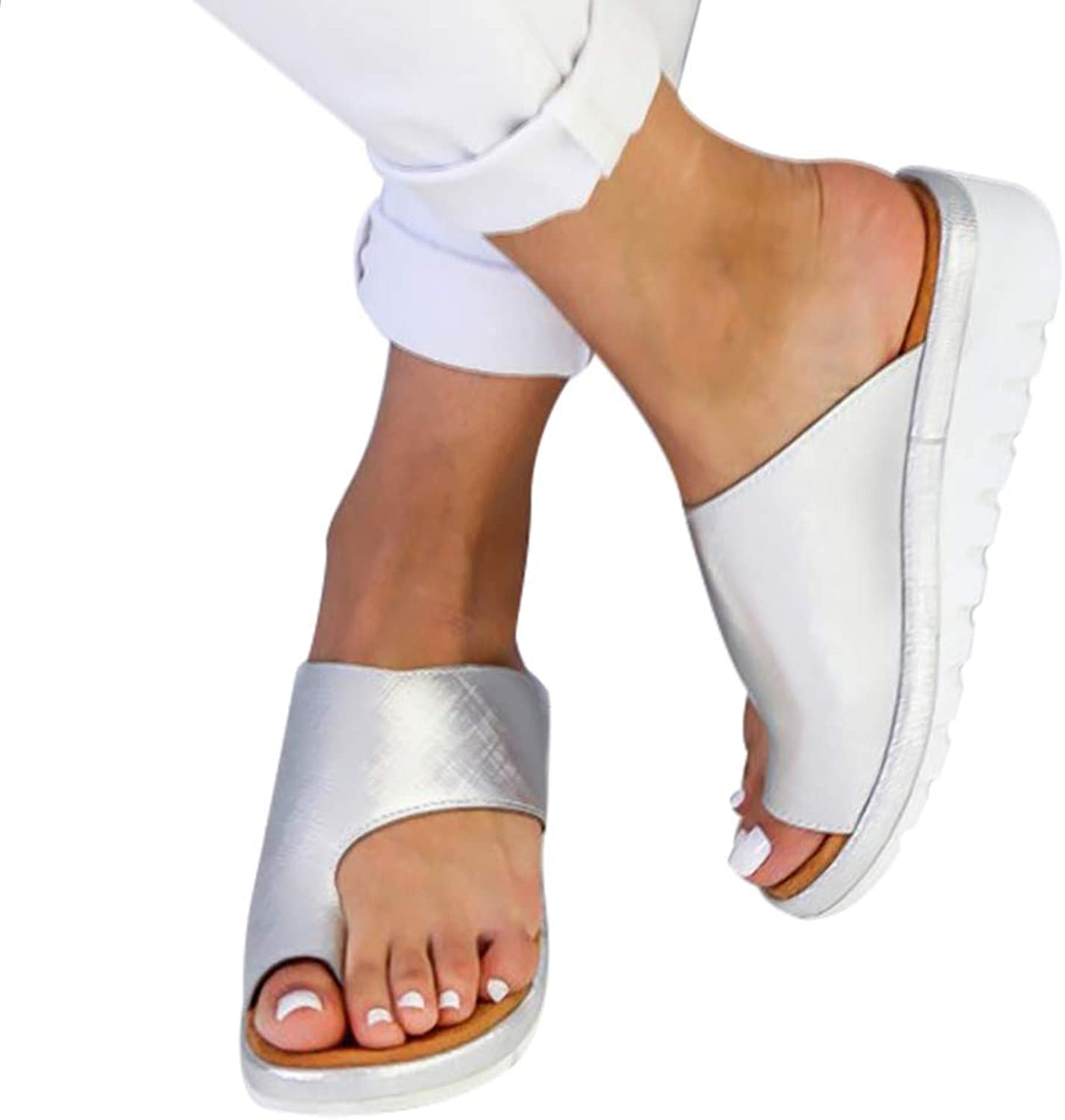 Flip Flops for Womens Comfy Platform shoes, Clip Toe Slip-On Wedge Sandals, Non-Slip Ladies Sandal, PU Leather Summer Beach shoes, Low-Heeled Wedges for Women Plus Size,Sliver,38