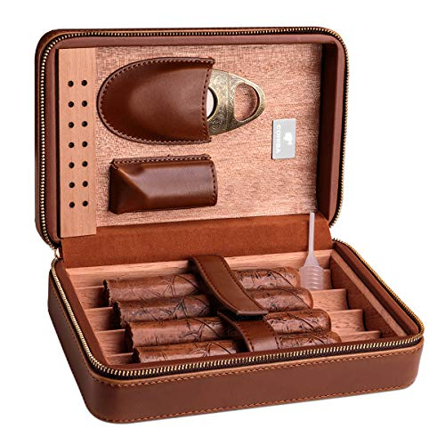 CIGARLOONG Cigar Humidor Tragbare Leder-Zigarrenhülle mit Luftbefeuchter und herausnehmbarem Tablett