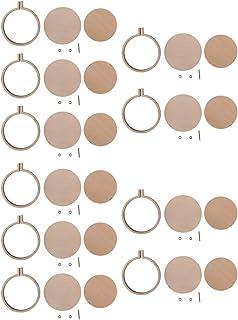 IPOTCH 10pcs DIY Holz Runde Kreuzstich Hoop Mini Ring Anhänger Stickerei Kreis Nähset Rahmen DIY Handwerk 4,4cm