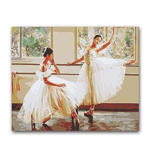 PAINTY dansende balletmeisjes figuur schilderen op cijfers ballerina op canvas tekenen afbeeldingen van cijfers voor dans klaskamer decor