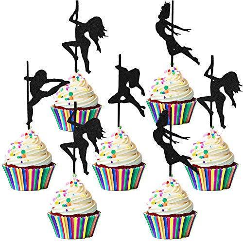 72 Pieces Glittery Pole Dancing Cupcake Toppers Pole Dancers Cake Picks Dancers Strippers Cake Toppers for Birthday Wedding Engagement Bridal Shower Party Decorations