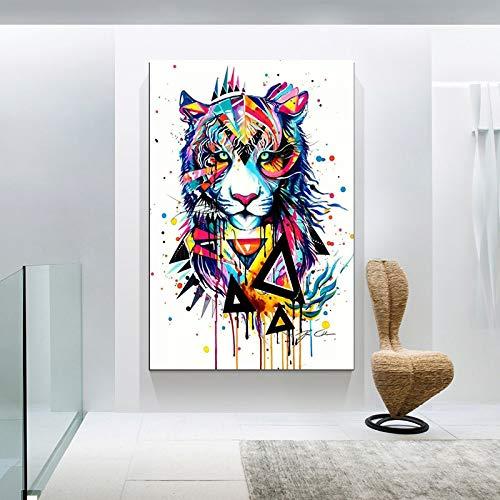 N / A Bunte Graffiti Tier Wandkunst Leinwand für Wohnkultur Druck Leinwand Malerei Bilder Rahmenlos 40X60cm