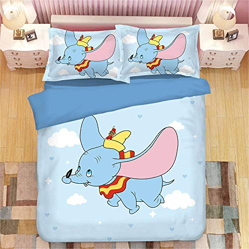 Yeesovs Cartoon animal elephant Bedding Set with Zipper, 135 x 200 cm 3PS Polyester Kid Boy Girl Duvet Cover Set Winter Autumn Summer Single size for children, adults, boys and girl