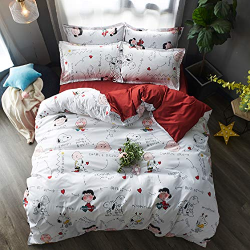 FSFGDFG Funda nórdica 4 Piezas Super King Size Dormitorio Ultra Suave Blanco Rojo Snoopy Print Sábanas de fácil Cuidado Fundas de Almohada duraderas de Moda Sábana Plana Transpirable