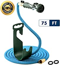 Vela Water Hose - 75 Ft Expandable Garden Hose - Hose Holder - High Pressure Washer Spray Nozzle with 9 Settings - Best As Seen on TV Heavy Duty Kink Free Flex Hose for Car Washing - Watering Hose
