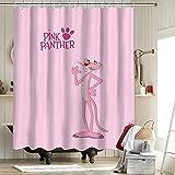 The Pink Panther - Cortinas de ducha con personalidad impermeable y antihumedad, tela de poliéster, diseño de Pantera rosa de dibujos animados, diseño de corazón de niña de 152 x 182 cm