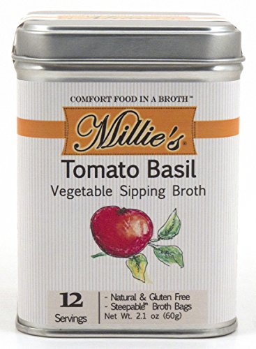 Millie's All Natural Organic Gluten-Free Vegetable Sipping Broth 12 Tea Bags Tomato Basil