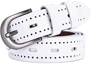 Rectangular Alloy Buckle Women's Fashion Casual Hollow Belt (Color : White)