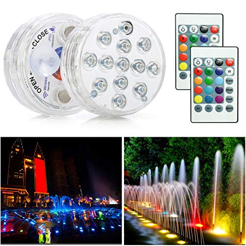 EYYRI Submersible LED Lights with Remote 2-Pack, Waterproof Bathtub Light Magnetic Pond Underwater Lights for Swimming Pool, Fish Tank, Fountain and Aquarium, Decoration Light for Christmas Party