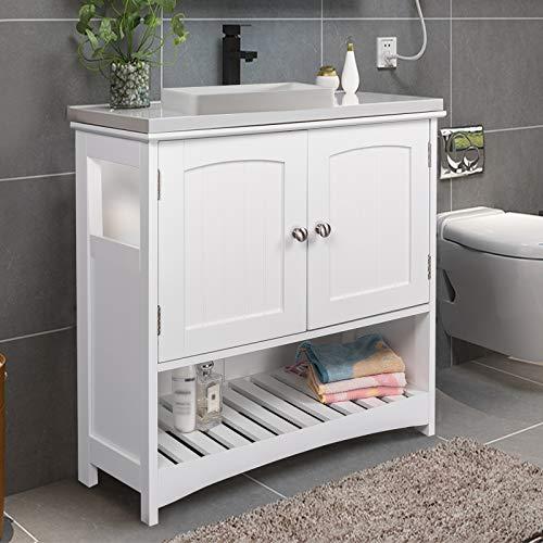 eSituro SBP0023 Meuble Dessous de lavabo,Meuble de Salle de Bain sans lavabo Blanc
