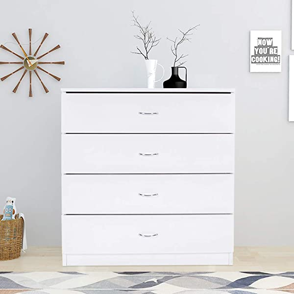 Goujxcy 4 Drawer Dresser White Wood Cabinet For Closet Office Clothes Cosmetic Storage Chest Organizer With Drawers Bedroom Night Stand