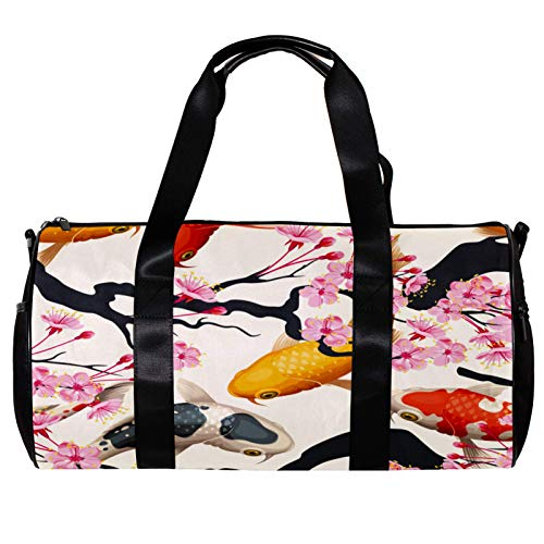 Sports Bag for Men and Women Gym Fitness and Travel Overnight Package Barrel Duffel Bag 金魚 桜 春