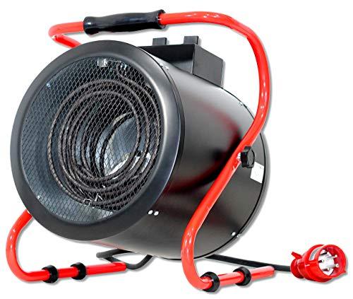DeTec. DT-HL9-3 Bauheizer 9 kW (9000 Watt) Starkstrom 400V für Innenräume, Garagen, Baustellen, schwarz rot