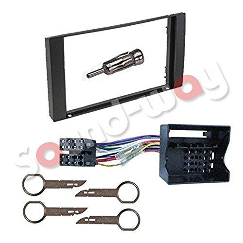 Sound-way 2 DIN Autoradio Radioblende RadioRahmen, ISO-Verbindungskabel, Antennenadapter, Schlüssel kompatibel mit Ford Galaxy, Fiesta, Focus, C-Max, S-Max