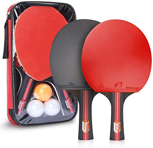 Allnice Ping Pong Paddle Set with Balls 2 Premium Rackets and 3 Ping Pong Balls Table Tennis Set with Carry Case for Beginners Professionals Trainers and Amateurs Indoor or Outdoor Play