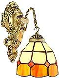 Lámpara industrial, Tiffany Wall Light Retro Mosaico Naranja y amarillento Soporte de cristal Lámpara de broche de bronce Sirena Hierro forjado 1 cabeza E27 Lámpara de noche para sala de estar Ático C