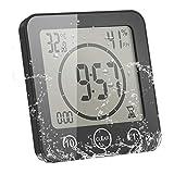 ONEVER Reloj de Baño Humedad Digital Temperatura Reloj Digital Reloj Temporizador Pantalla LCD Control Táctil Alarma Temporizador Para Baño de Cocina (negro)