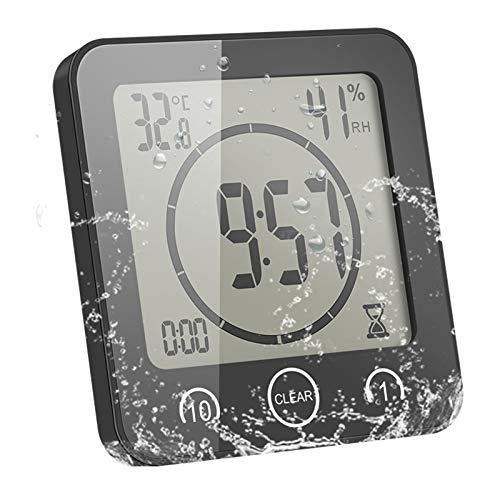 ONEVER Portable LCD Digital Température Humidité Horloge Touch Control Alarme Minuterie pour Cuisine Salle De Bains-Noir