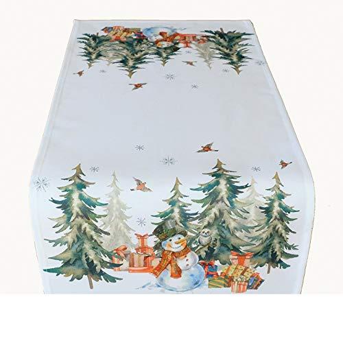 Kamaca Serie Schneemann mit Geschenken hochwertiges Druck-Motiv - Eyecatcher Herbst Winter (Tischläufer 40x85 cm)