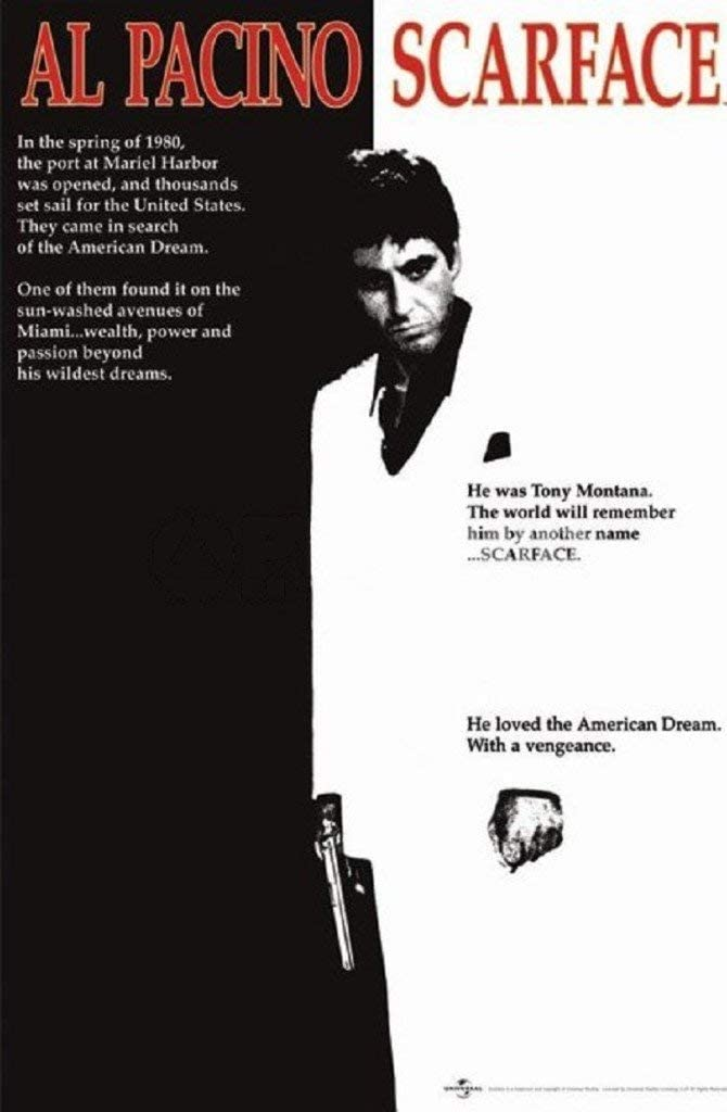 Scarface Movie Al Pacino Black And White Poster Print 24x36 Collections Poster Print 24x36 Poster Print 24x36 Scar Face Poster Posters Prints