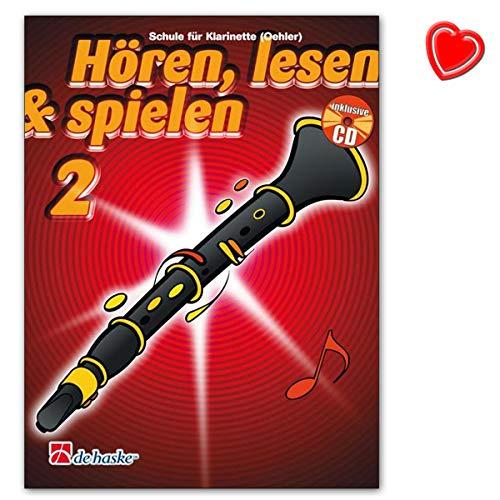 Hören, Lesen a Spielen Band 2 Klarinette - Klarinettenschule Von Jaap Kastelein mit CD und bunter herzförmiger Notenklammer - Verlag De Haske 1001991 9789043109116