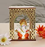 TIED RIBBONS Gold Plated Ganesh Indian God Idol Statue for Home, Office, Table Desk Decoration, Car Dashboard and Religious Gifts - Diwali Decorations for Home and Diwali Gifts