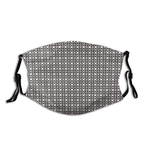 Mosaic of Repeating Abstract Star Shapes in Geometric Style Mesh Ornament Dust Washable Reusable and Reusable Mouth Face Cover with 2 Filter