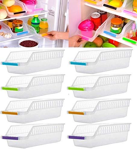 JD Brand Plastic Fridge Space Saver Food Storage Organizer Basket Rack, Multi-Color (Pack of 8, Made in India)