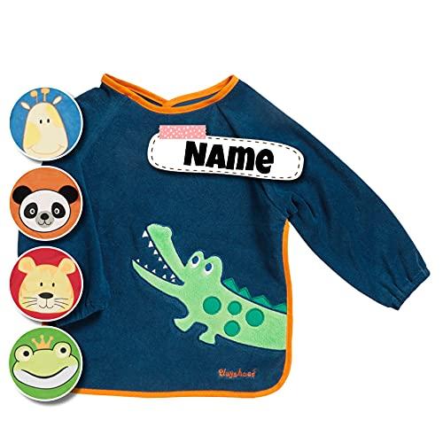Langarm Lätzchen bestickt mit Namen, personalisiert, Spucktuch Baby mit Ärmel | Baby Erstausstattung (Navy - Kroko)