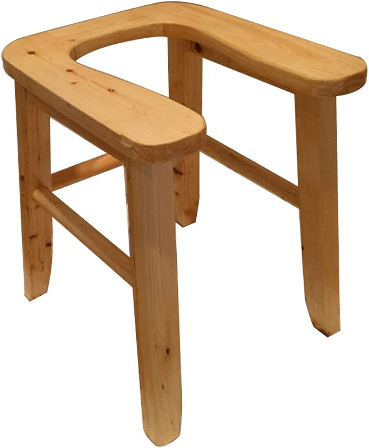 Toilet Chair Commode Chair Bathroom Stool Solid Wood U-Shaped Movable Toilet Stool for Elderly Pregnant Disabilities,A+Height25cm