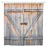 AdaCrazy Cortina de Ducha Marrón Rústico Detalle de Puerta de Madera de Granero Farm Old Home Baño Decoración Tejido de poliéster Impermeable 72 x 72 Pulgadas Set con Ganchos